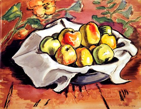 Max Pechstein, Apfelstillleben, 1948